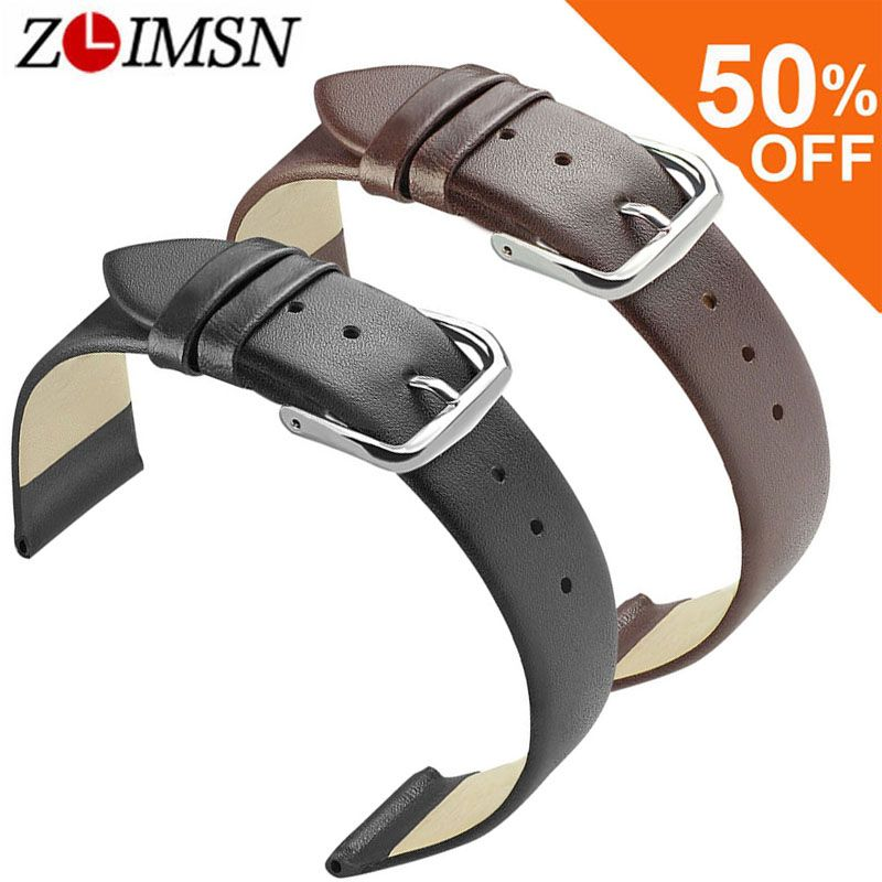 ZLIMSN Soft Genuine Leather Watch Band 18 20 22mm Brown Black Smooth Thin Watch Strap Stainless Steel Buckle Relojes Hombre 2017