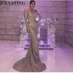 Glitter Silber Gold Pailletten Abendkleid Mit Langen Ärmeln Bodycon Elegante Frauen Formale Kleid 2019 Saudi-arabien Dubai Prom Kleider