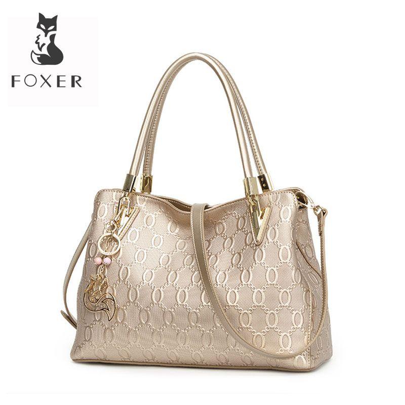 FOXER sac à bandoulière femme en cuir de vache fendu sacs à bandoulière femme mode Totes sac à main all-match sac à main poignée supérieure 962061F