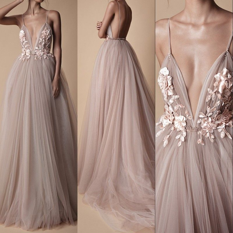 Sexy Tulle Long Evening Dress 2018 New Arrival Backless Court Train Flowers Blush A Line <font><b>Special</b></font> Occasion Prom Gowns Custom Made