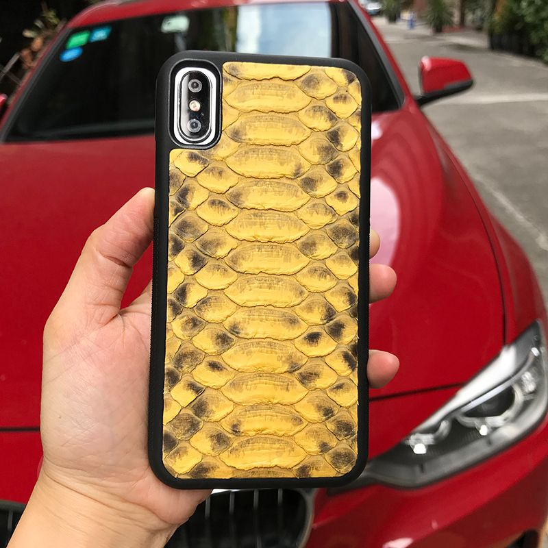Cell phone Accessories for iphone 8 plus case Luxury yellow python skin most popular cell phone cases for iphone X SE 6 6S plus