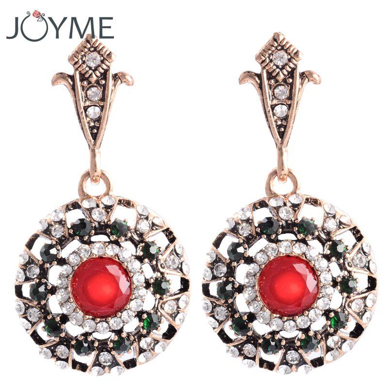Femmes Boucles D'oreilles Thai Oreille Clip Ronde Bronze Or-Couleur Autrichien Rouge Cristal Acrylique Balancent Boho Ethnique Turc Boucle d'oreille