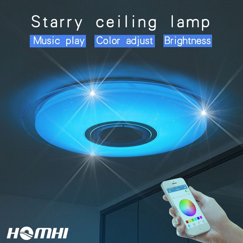 Phone control Music ceiling lamp <font><b>Dimmable</b></font> 52w Living room bedroom modern for home children bluetooth speaker lighting Fixture