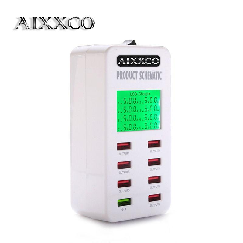 AIXXCO écran d'affichage Charge rapide QC3.0 adaptateur USB chargeur intelligent 8 ports chargeur de bureau téléphone portable chargeur de voyage QC2.0