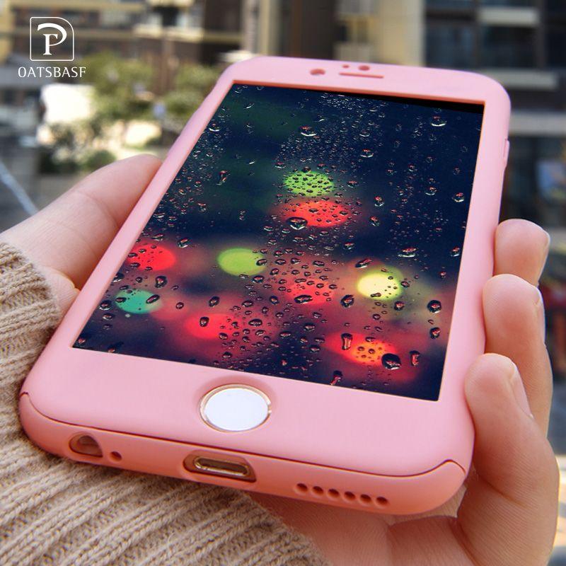 OATSBASF Luxus 360 360-grad-abdeckung Harte PC Fall Für Apple iPhone 6 6 S Plus Dünnes Volles Körper Abdeckung + glas Displayschutzfolie