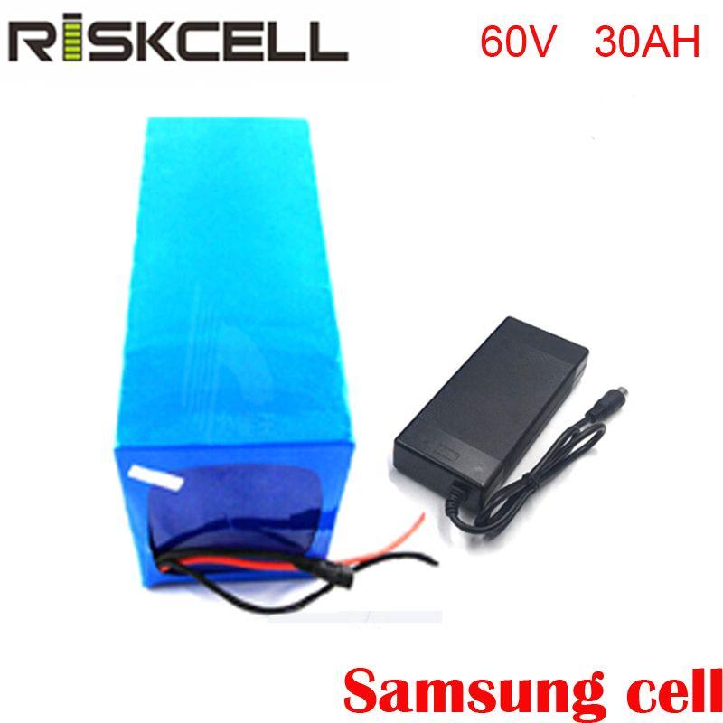 Diy wiederaufladbare 60 v 30ah elektrische fahrrad batterie 60 v batterie pack mit batterie ladegerät 50A BMS Für Samsung zelle