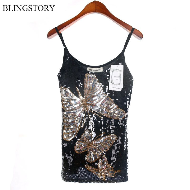 European Brand High Quality sequined Paillette Butterfly summer women tops blusas y camisas mujer sexy black Camis Clubwear