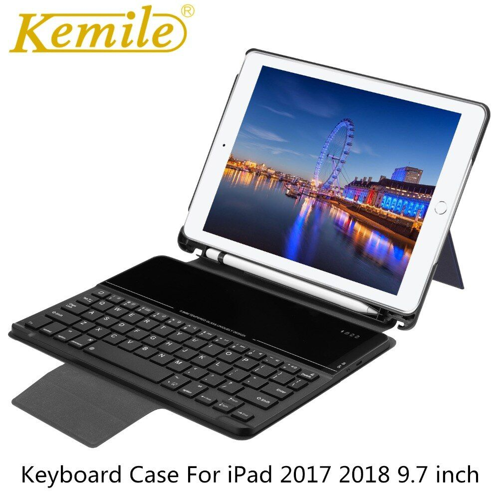 Fall Für Neue iPad 2018 9,7, drahtlose Bluetooth 3,0 Tastatur W Bleistift Halter Auto Schlaf Wake Fall Für iPad 2017 9,7 A1893 A1954