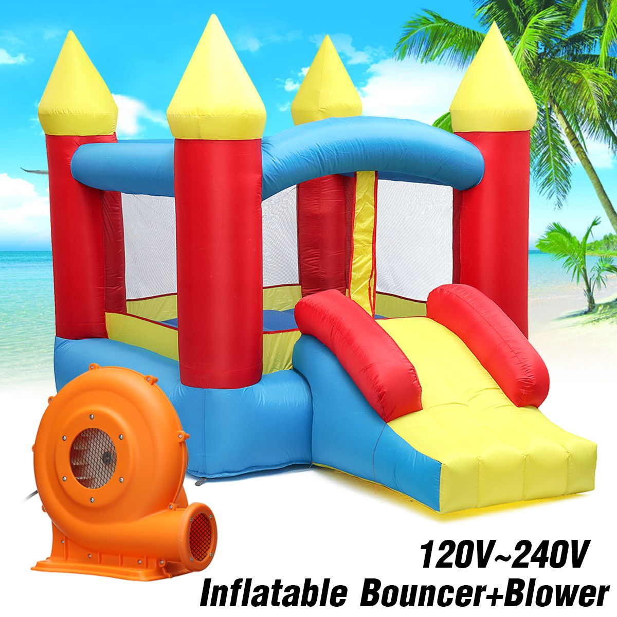 Kids Play Game Inflatable Castle Multi-function Inflatable Trampoline with 380W Inflatable Bouncer EU/US Plug