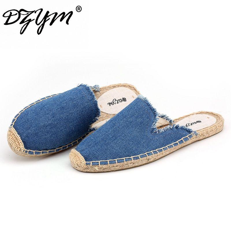 DZYM 2018 Spring Summer Denim Women Slippers Linen Cowboy Slides Canvas Espadrilles Mules Shoes Sapatos Femininos