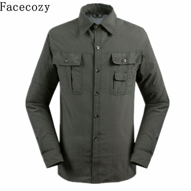 Facecozy Men Summer Outdoor UV Resistant Removable Shirt Turn-Down Collar Quick Dry Fishing Coat Trekking&Hiking Clothes
