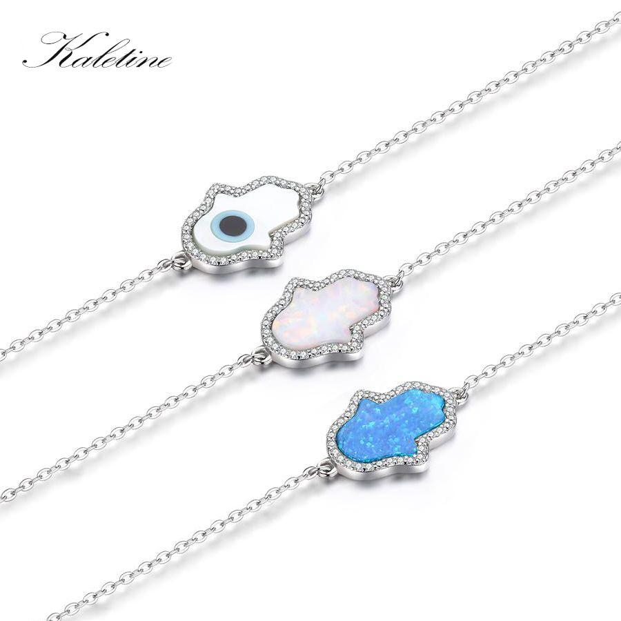 Nouveau Mode Synthétique Opale Bleu et Blanc Hamsa Main de Fatima Véritable 925 En Argent Sterling Bracelet