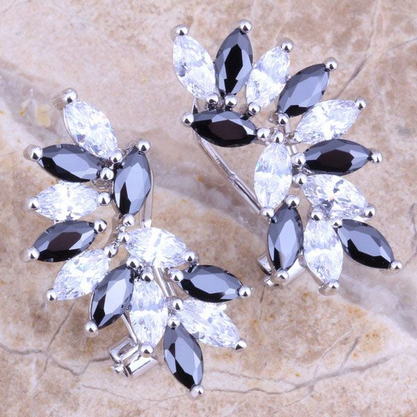 Terrific Black  Cubic Zirconia White CZ 925 Sterling Silver Clip Huggie Earrings For Women  S0233