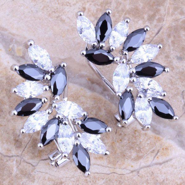 Terrific Black Cubic Zirconia White CZ 925 Sterling Silver Clip Huggie Earrings For Women S0233