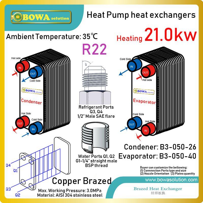 6HP wärmepumpe kondensator und verdampfer wählen PHEs mit 21KW wärme tranasfer kapazität zwische R22 gas und wasser zu machen heißer wasser