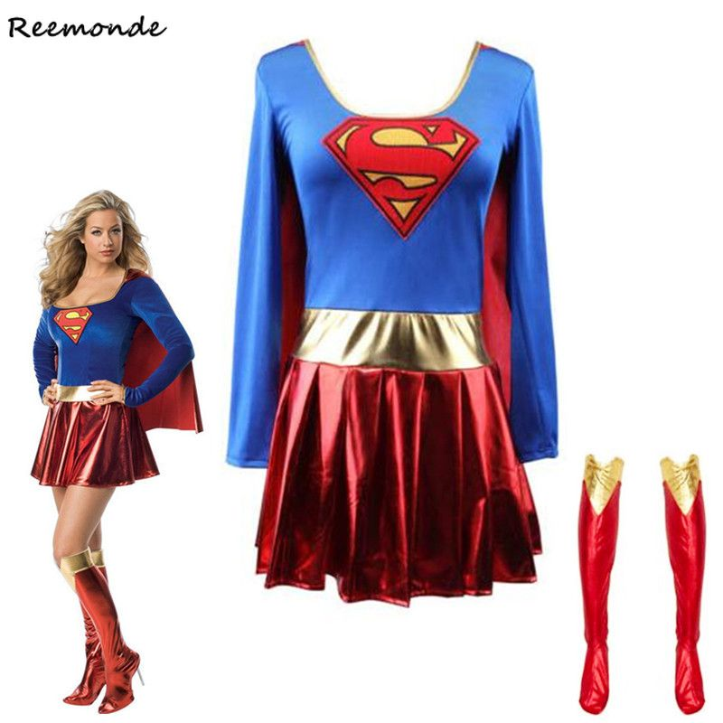 Superwoman robe Superman Cosplay Costumes pour adulte et filles Halloween Super fille costume Super héros merveille femme Super héros