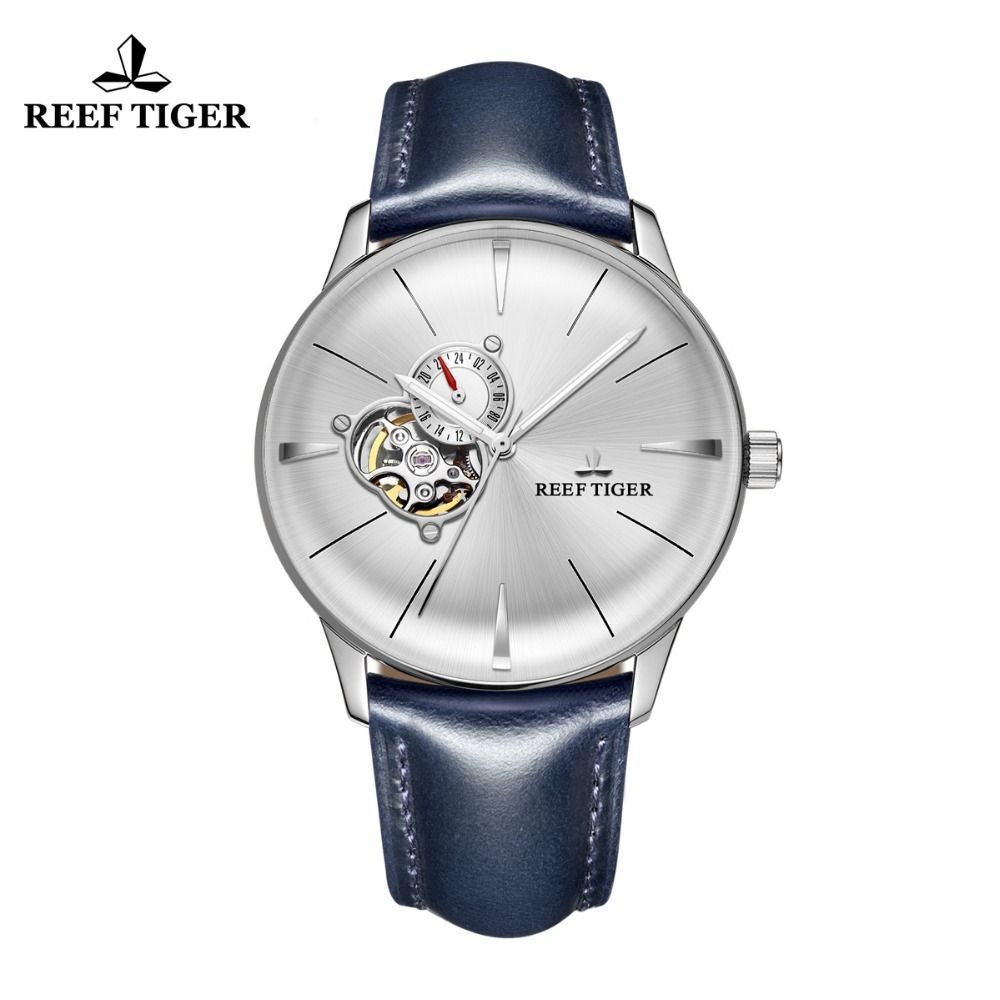 New Reef Tiger/RT Dress Watches for Men Blue Leather Steel Watch Convex Lens Glass Tourbillon Automatic Watches RGA8239