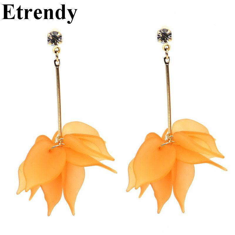 Simple elegante flor grande Pendientes para las mujeres bijoux 2017 joyería de moda blanco naranja regalo lindo