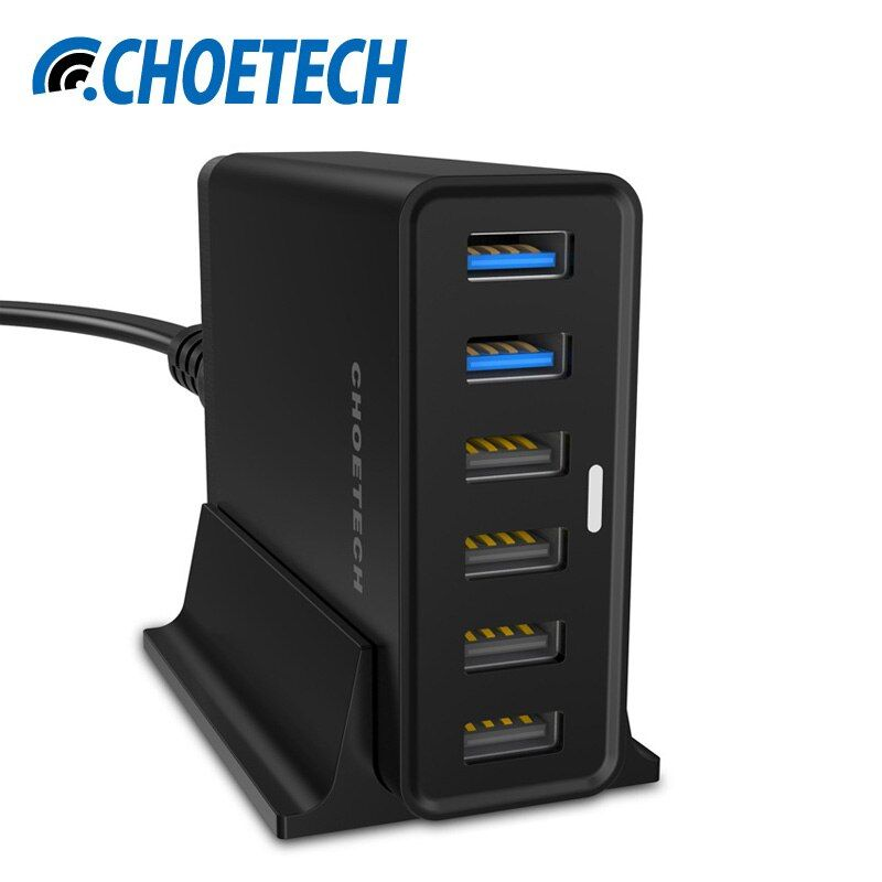 [Quick Charge 3.0 Charger]CHOETECH 50Watt Multi USB Charging Station with Holder for Samsung Galaxy S8 Mobile Phone Chargers