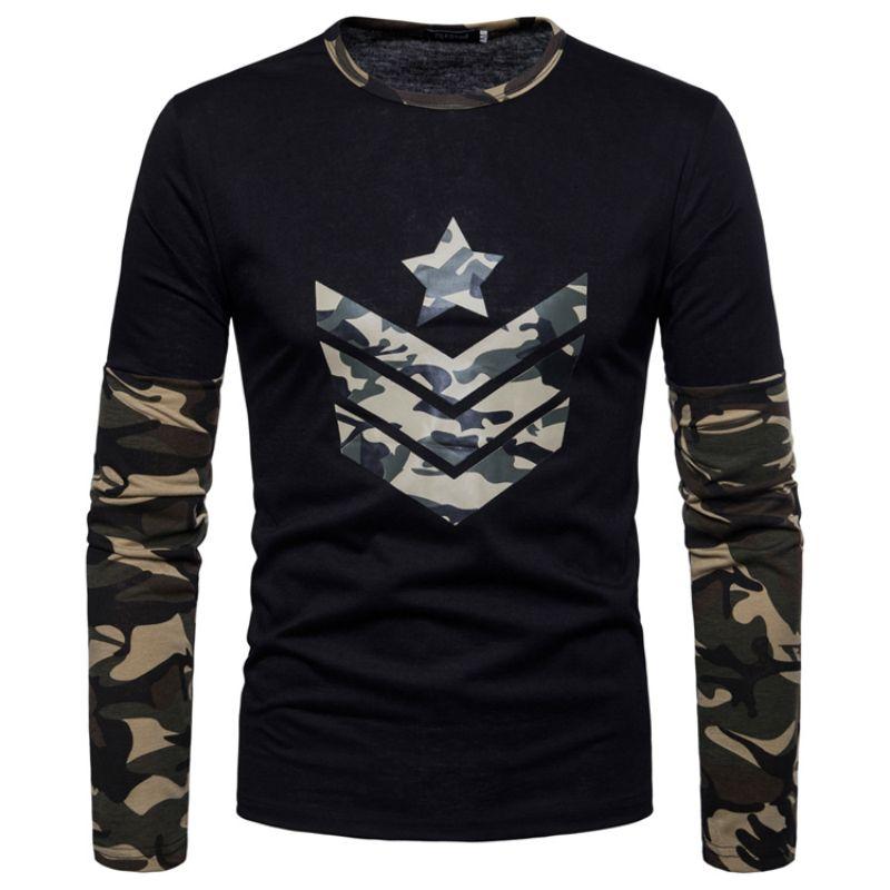 New Arrivals 2018 Men T-shirt summer style men Long sleeve T-Shirt fashion slim camo color decoration Men O-neck t-shirt Casual