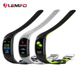 LEMFO LT02 Smart Wristband Color LCD Fitness pulsera Monitor de ritmo cardíaco Fitness pulsera IP68 impermeable Pedometer Smart Band