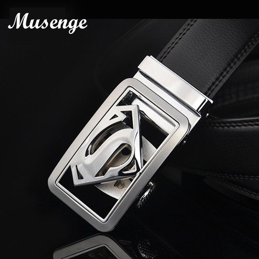 Musenge mâle en cuir véritable concepteur ceintures hommes de haute qualité hommes ceinture de luxe automatique boucle ceintures pour hommes Cinturones Hombre