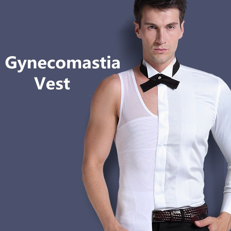Mens Gynecomastia Vest <font><b>Chest</b></font> Binder Posture Corset Male Abdomen Trainer Belly Reduce Fat Slim Fit Body Shaper Back Cross Tops
