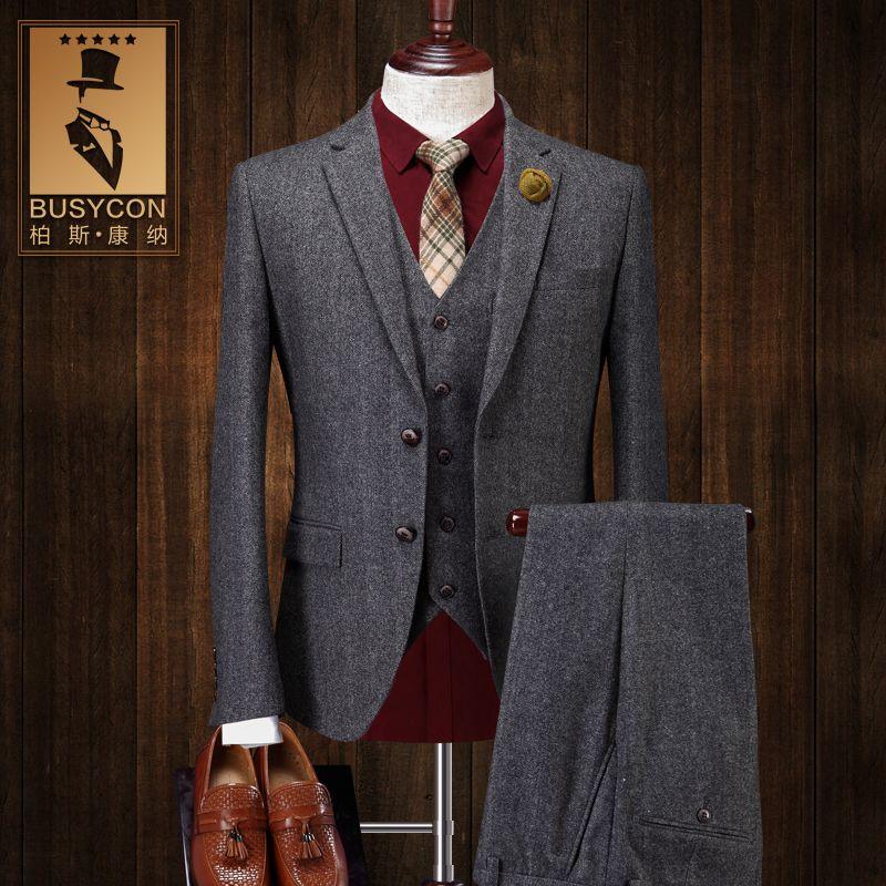 Herringbone Wool Suit Mens 3 Pieces Grey Retro Tuxedo Business Bridegroom Stage Costumes For Singers ( Blazer + Vest + Pants )