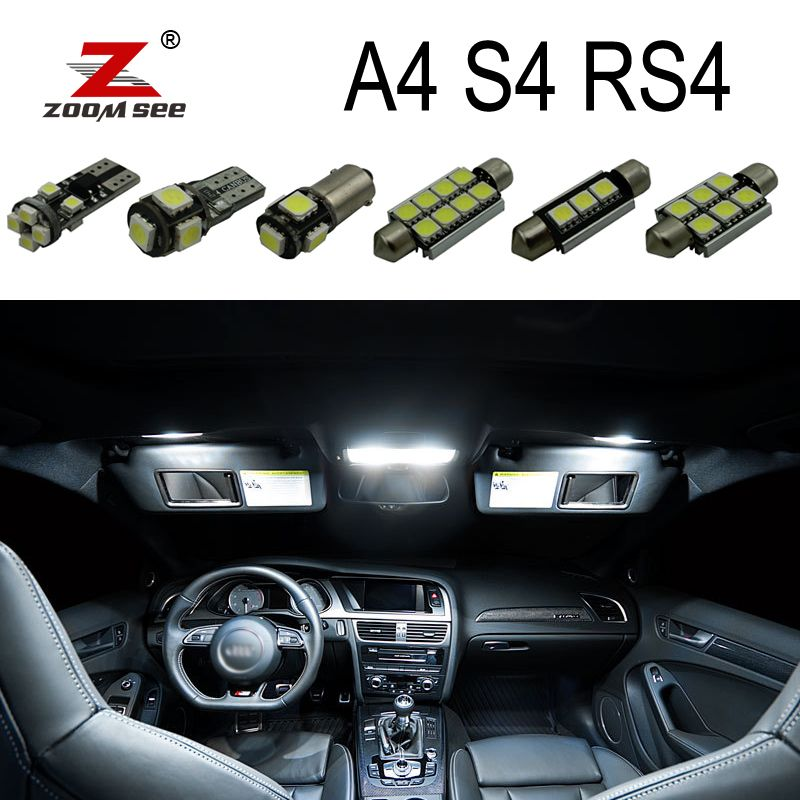 Perfect White Canbus Error Free LED bulb interior dome map overhead light Kit for Audi A4 S4 RS4 B5 B6 B7 B8 (1996-2015)