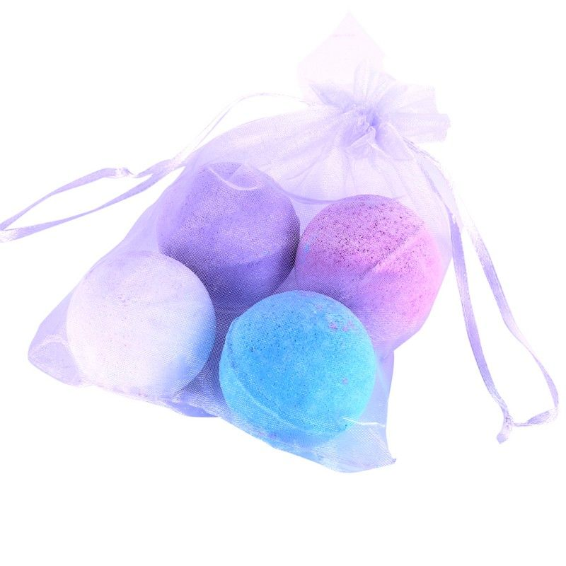 Skin Care Set 4pcs Organic Bath Bombs Bubble Bath Care Salts Ball Essential Oil Handmade SPA Body Care Set