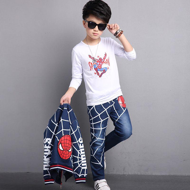 29 KEIZ 3 Teile/satz Blue Spiderman Kinder Kleidung Set Herbst Baumwolle Denim Jungen Sport Anzug Sportkleidung Jacke + Hose + T-shirt