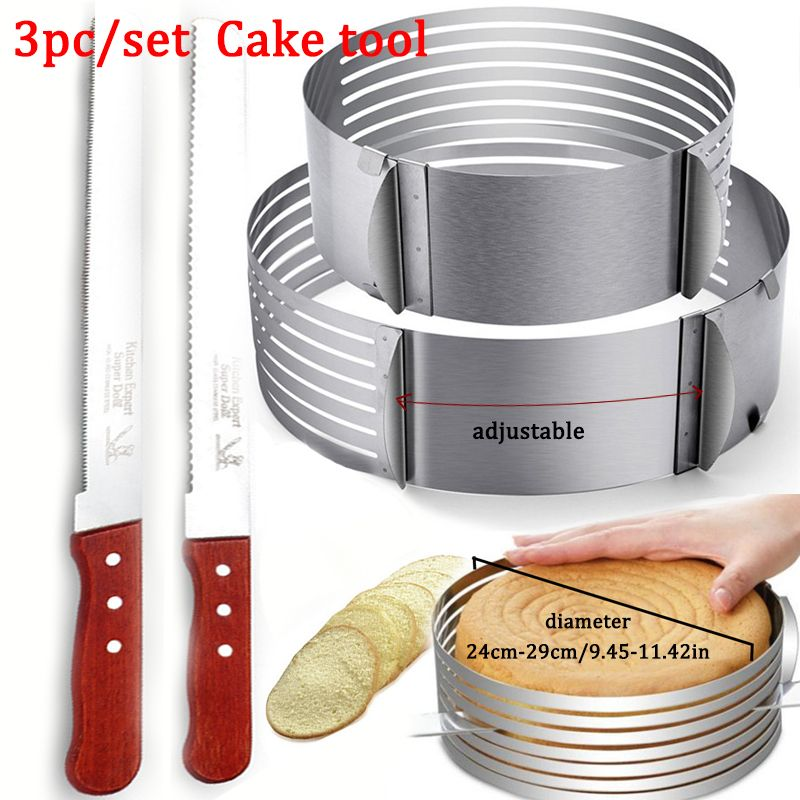 Adjustable Cake Layer Cut Mousse Kitchen Chef Serrated Toast Knife Cake Slicer Device Mold Bakeware Baking Cake Tools