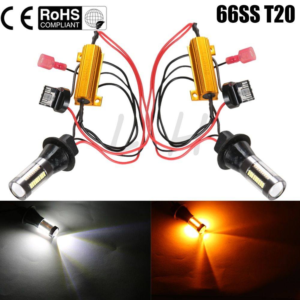 New 2x DC 12-24V T20 7440 66SMD  30W Car LED Light Dual Color Switchback Turn Signal Lamp Bulb Daytime Running Light DRL Canbus