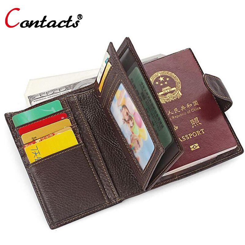 CONTACT'S Couverture Du Passeport Hommes Portefeuilles En Cuir Véritable Titulaire de la Carte D'embrayage Mâle Détenteur d'un passeport Handy Passeport Couvre Sac Portefeuille