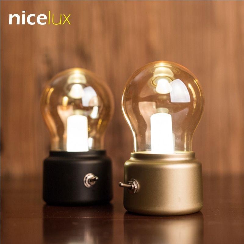 Vintage LED Bulb Night Light Retro USB 5V  Rechargeable Battery Mood Luminaire Writing Desk Table Lights Portable Bedside Lamp