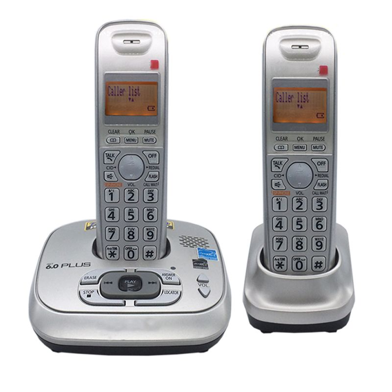 2 Handset Dect 6.0 Digital Cordless Phone With Answer Machine Voice Mail Backlit Fixed Telephone For Office Home Bussiness