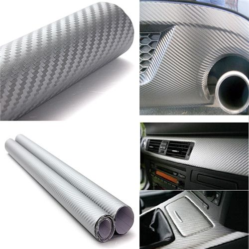 152x60cm Waterproof Silver 3D Carbon Fiber Vinyl Wrap Film Car Vehicle Sticker Sheet Roll 60x24 inch