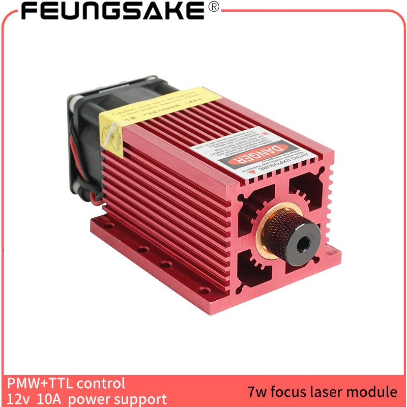 7w laser module for laser engraving machine with PMW TTL control power adjustable 445nm focusing much bigger than 5500mw