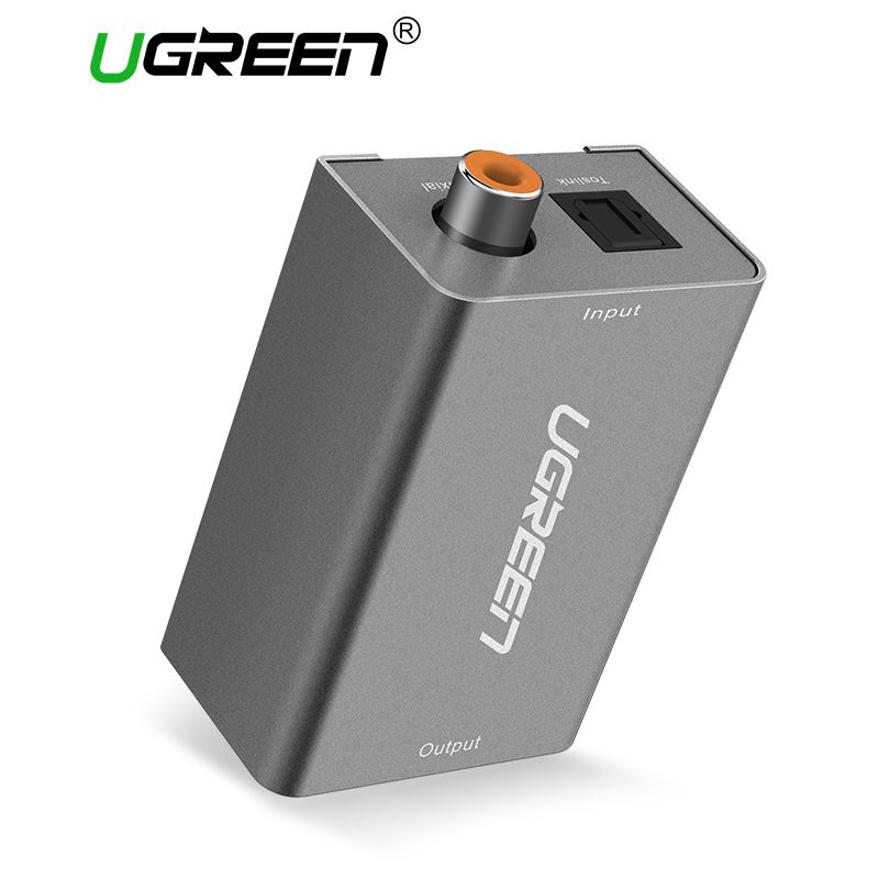 Ugreen Digital to Analog Audio Adapter Optical Coaxial Toslink to 3.5mm Audio with DC 5V/2A EU Plug Converter Adapter for TV