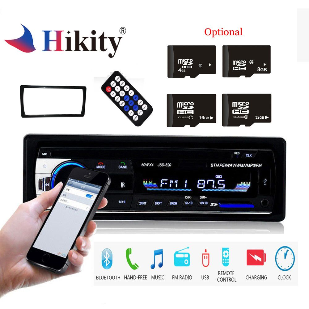Hikity 1 Din JSD-520 Bluetooth Radio SD MP3 Player Car Radios Stereo FM/USB/radio remote control For phone Car Audio