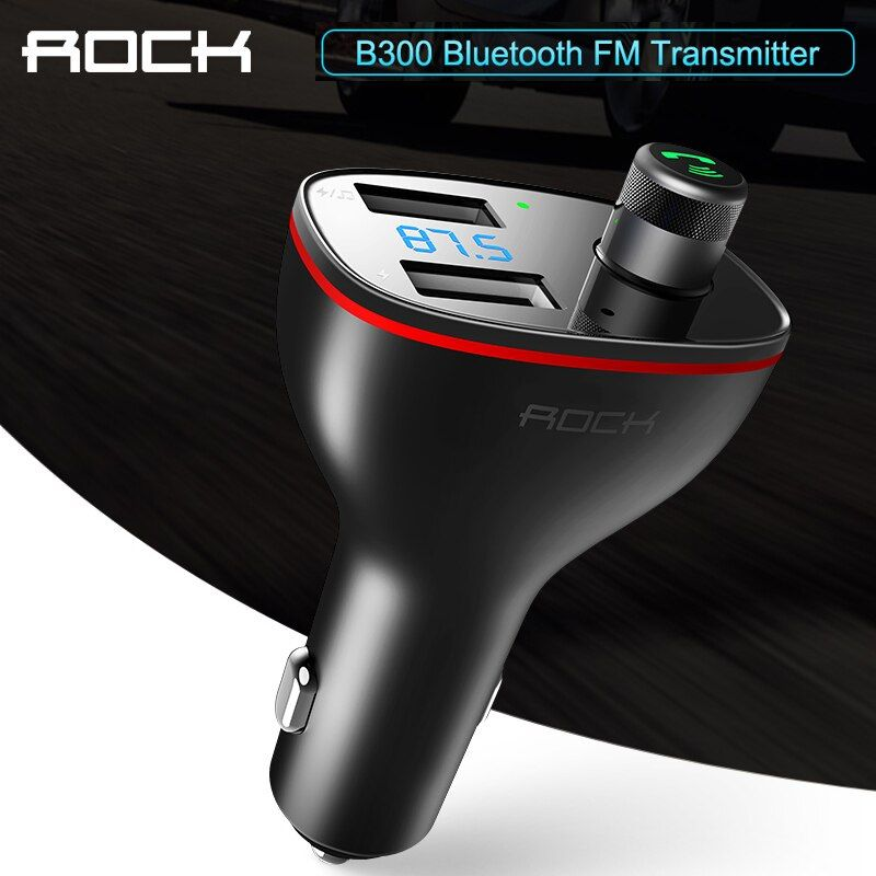 ROCK double USB chargeur de voiture B300 Bluetooth 4.2 FM transmetteur numérique 3.4A Distribution intelligente courant rapide charge rapide