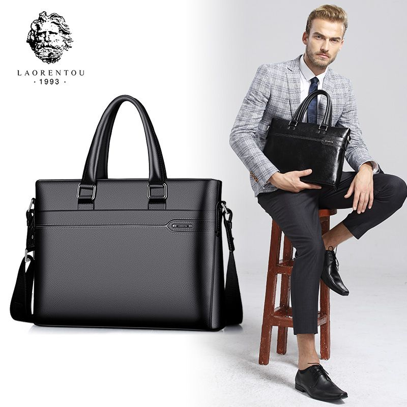 Laorentou Men Crossbody Bag Genuine Leather Handbag Business Briefcase Shoulder Messenger Bag Top Quality Real Leather Briefcase