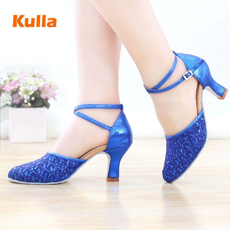 Подлинная новый на высоком каблуке леди Латинский танец обувь леди на высоком каблуке квадратных взрослых Латинской обувь синий блестками ...