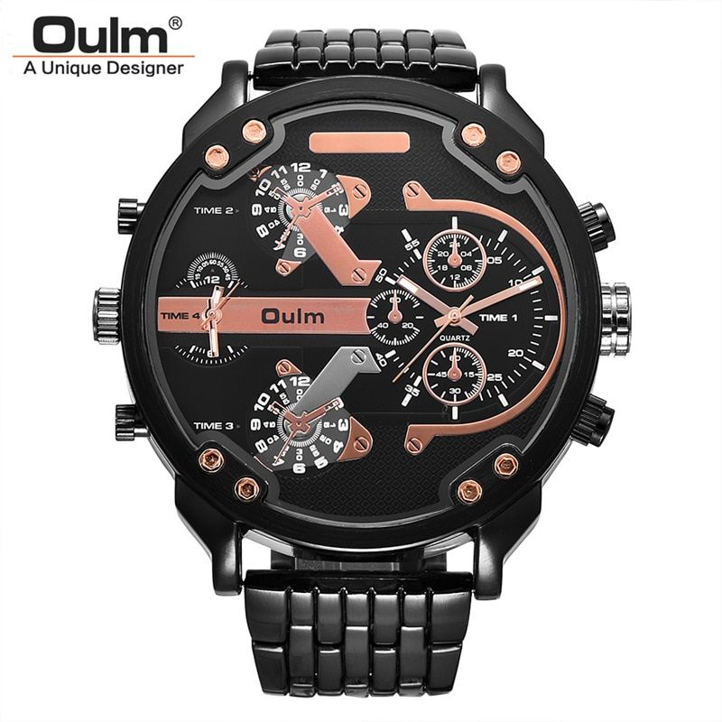 Oulm Super Large Dial Watches Men Luxury Brand Two Time Zone Military Watch Male Quartz Clock Hours Man relogio masculino