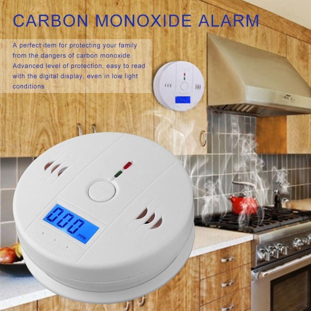 LESHP CO Carbon Monoxide Poisoning Smoke Gas Sensor Photoelectric 85dB Warning High Sensitive Independent Warning Alarm Detector