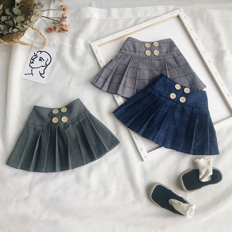 Girls Pleated Skirt Toddler Solid Princess Party Pleated School Costumes Autumn Brand Soft Plaid Ruffles Skirt Baby Petticoat