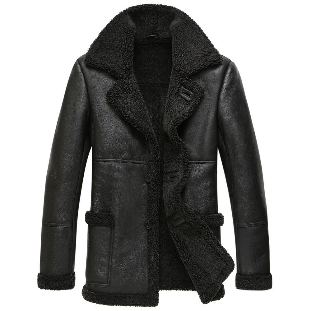 Echtes Leder Jacke Männer Winter Jacke Natürliche Wolle Pelzmantel Real Schaffell Mantel für Männer Bomber Jacken Plus Größe 4xl MY2018