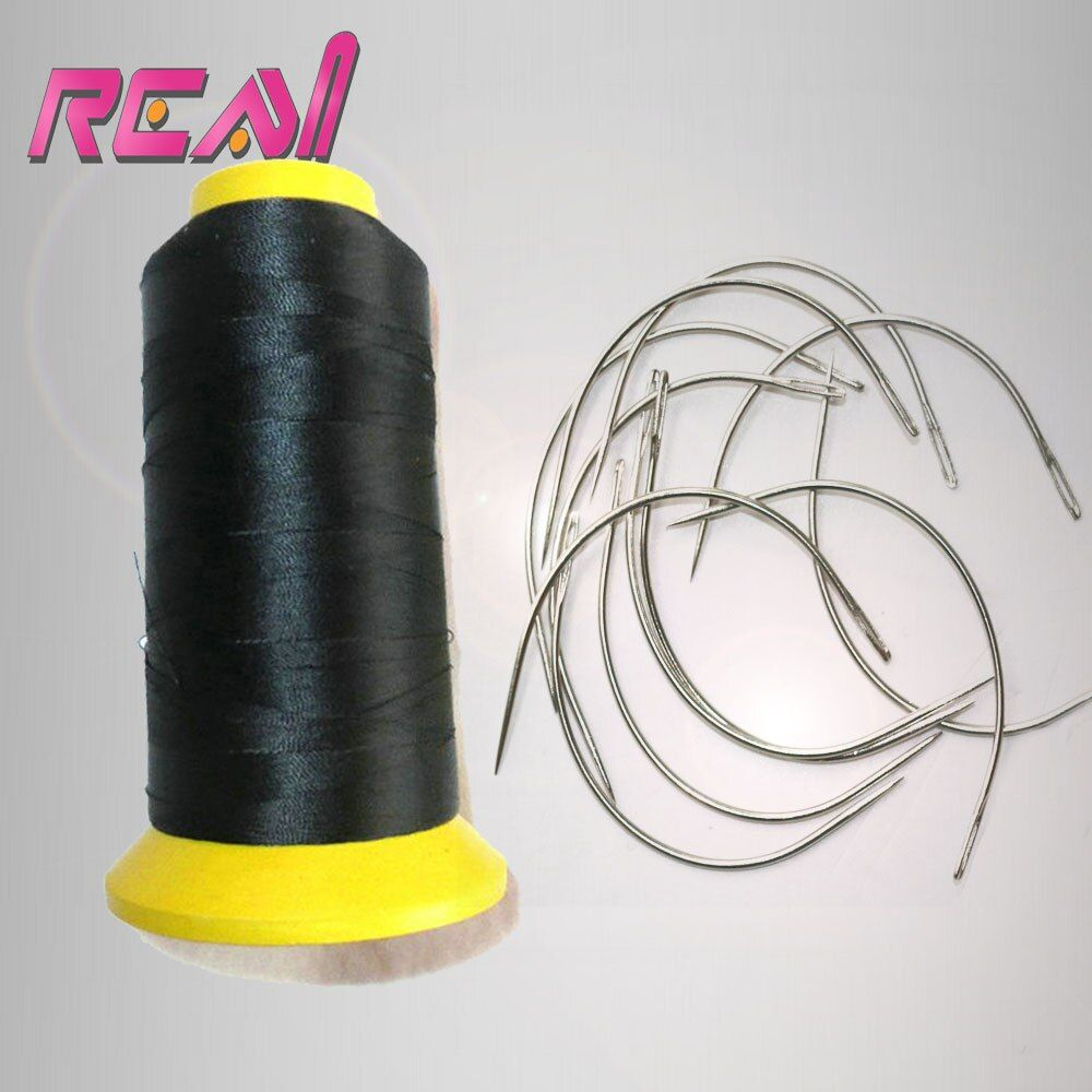 1 Roll High Strength Black Color Hair Weaving Thread Nylon Hair Thread And 24 Units C Type Curved Needles For Sewning Hair Weave