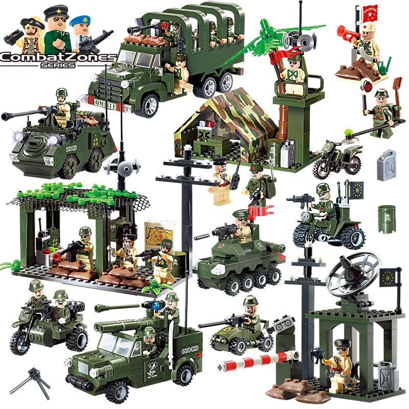 Enlighten Military Educational Building Blocks Toys For Children Gifts Army Cars Planes Helicopter Weapon Compatible With Legoe