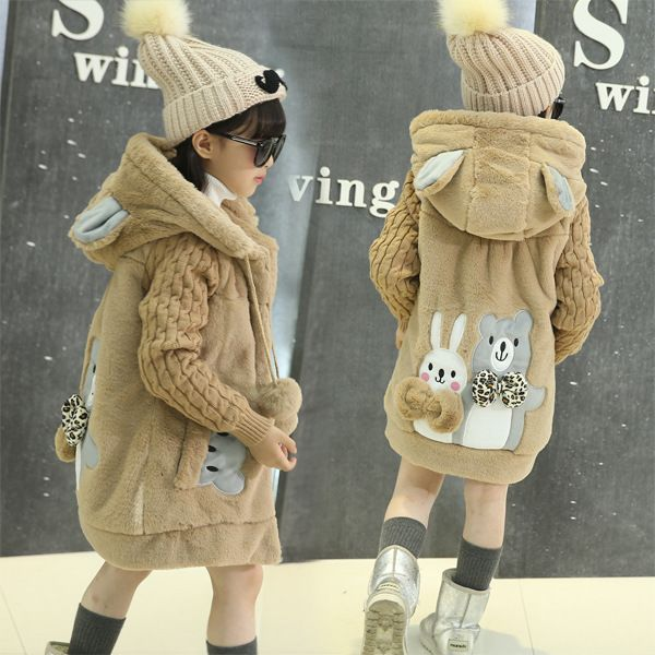 OLEKID 2018 New Cartoon Rabbit Winter Girls Parka Thick Warm Hooded Children Outerwear 5-14 Years Teenage Girls Sweater Coat